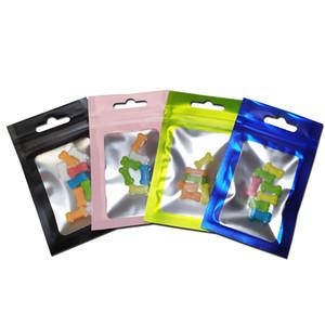 200pcs / lot Grip pequeño de color mate de la cremallera paquete de papel de aluminio Mylar bolsa con cierre zip bloqueo de ventanas de plástico transparente Bolsas por menor