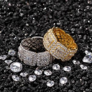 Luxury Gold Plated Rings For Man 3A Cubic Zirconia Ring Mens Women Fashion Jewelry for Party Wedding