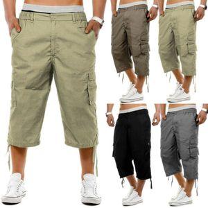 Pantalones de carga 2020 para hombre de combate de media caña ocasional del verano toursers trabajo con bolsillos de los pantalones de 3/4 Capris