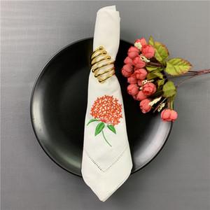 Set of 12 Fashion Wedding Napkins white Hemstitched linen Table Napkin with Color Embroidered Floral Dinner Napkins