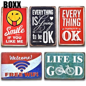 3D EMBOSSED Vintage Smile Love Metal Tin Sign Retro WIFI Tin Plate Door Signs Chic Sweet Home Living Room Metal Wall Art Decor