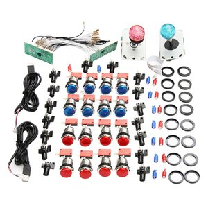 2 Player LED Arcade Games DIY Parts Kit 2X USB Encoders + 2X Arcade Joysticks + 16x LED Arcade Buttons for Raspberry Pi and Windows
