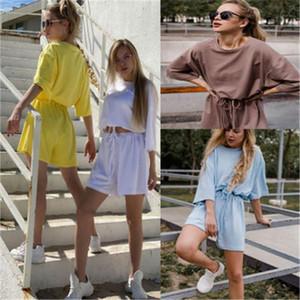 Fashion Trend em torno do pescoço meia manga Shorts Fatos Ladies Pure Início Cor Define Suits Designer Feminino Verão solto Esporte 2pcs