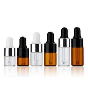1ml 2ml 3ml 5ml Mini Svuotare contagocce aromaterapia bottiglia portatile Esstenial Bottiglia di olio con Glass Eye Dropper DHE1160