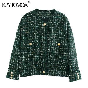 KPYTOMOA Frauen 2020 Art und Weise mit Buttons ausgefranste Tweed-Jacken-Mantel-Weinlese-O-Ausschnitt Langarm Pockets Weibliche Oberbekleidung schicke Tops