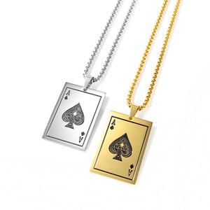 Мужские ювелирные изделия Ace дама ожерелья, Игральные карты Подвеска ожерелье из нержавеющей стали