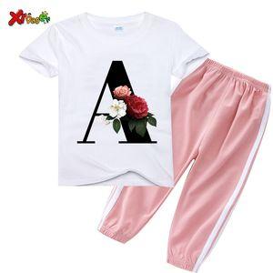 Children Clothing Set kids clothes sets Flower Letter A B E TShirt +Pant 2pcs Fashion Summer Girls Suit Casual Toddler Baby Boys X0923