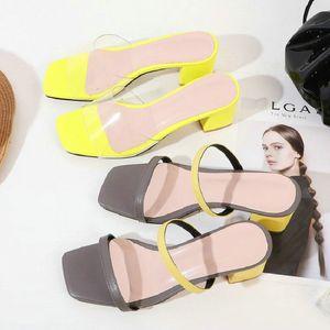 Sianie Tianie 2020 chiaro pvc cuoio genuino di diapositive sandali delle donne di pelle di pecora di colore giallo sandali tacchi donna grosso grande taglia 44 46