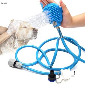 Pet Bath Shower Water Sprayer Pets Supplies Bathing Cleaner Tools Cleaning Massage Scrubber Sprayer Hand Massage Pet Comb BH2993 DBC