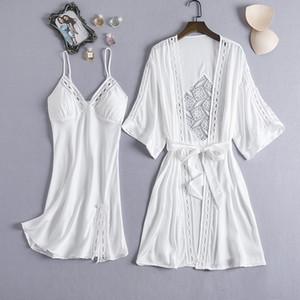 MECHCITIZ 2020 Lace donne sexy abito di seta abito Set Pajamas Set sonno Abito Accappatoio 2 pezzi Robe damigella d'onore Sleepwear T200825