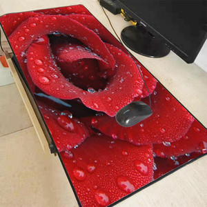 Mairuige Red Rose With Water Droplets Gaming Mouse Pad Laptop Mouse Mat Large Size Notebook Computer Locking Edge Mousepad