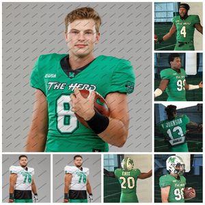 Marshall Thundering Herd 2020 8 Grant Wells Nazeeh Johnson 1 Derrek Pitts Jr. MORRISON BROOKS Alex Salguero NCAA College Football Jersey