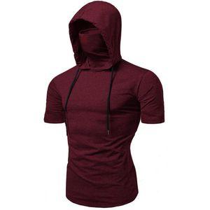 Summer Short Sleeve Hoodies For Slim With Black Elasticity Man Coat Fit Hoody Gray Cool Biker Sweatshirt Moto Men Mask Plus Size Lnjcr