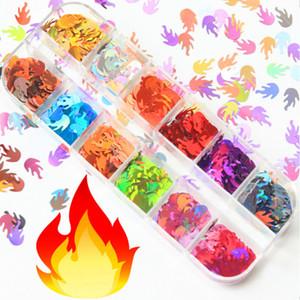 Nail Art Sequins Stickers 12 Color Set 3D Flakes Holographic Flame Sequins Maple Leaf Dot Nail Art Decorations Design Decals
