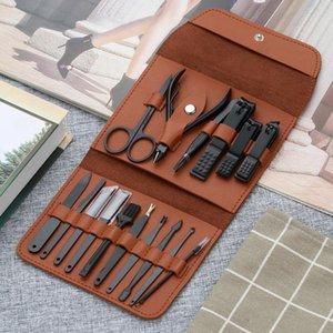 YBLNTEK 16PCS Маникюр ногтей кутикулы Pusher Remover Clipper ножницы Щипцы Пинцет Picker педикюра Nail Art Tools Kit Case