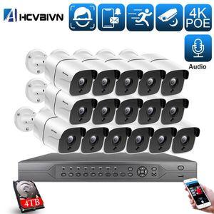 Ahcvbivn AI الذكية 4K 5MP نظام 16ch poe cctv الأمن NVR كيت HD الصوت الصوت في الهواء الطلق نظام مراقبة كاميرا