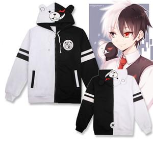 White Bear costume cosplay Anime Danganronpa Monokuma Unisex Felpa con cappuccio cappuccio nero a maniche lunghe quotidiano del cappotto del rivestimento casuale