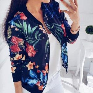 Женщины Винтажная куртка Streetwear Цветочные печати Осень Тонкие женщина Bomber Jacket Streetwear Крупногабаритные Zipper Дамы Верхняя одежда Пальто