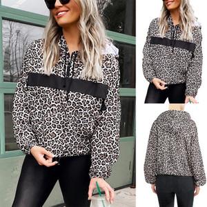 Womens Casual Autumn Hoodies Girls Fashion Leopard Print Sweatshirts 2020 Trendy Zip V-neck Long Sleeve Hoodie Hip Hop Style Tops Hot Sell