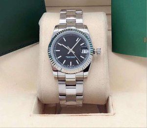 dayjust New Qualidade das mulheres 31 milímetros Mecânica inoxidável 316L Movimento automático Luxo diamante de cristal negro 004 Relógios de pulso