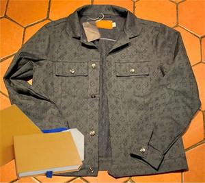 Donne Giacca di jeans Primavera antumn modo di marca Button cappotto per Lady Giacca di jeans tasca del cappotto Stampa Lettera Denim CoatZ1