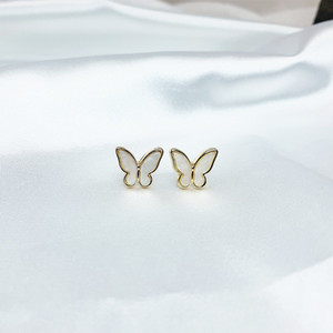 Butterfly Stud Earrings Silver Color Needle Sparkling Bow Knot Ear Jewelry Zircon Women Party Luxury Jewelry