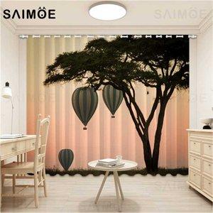 SAIMOE Afrika Ağaç Görünümü Perdeler Dusk Sky Sıcak Hava Balonu Salon Perde Doğal Manzara Perdeler Ultra İnce Mikro Gölgelendirme