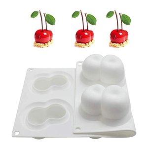 أدوات الأبيض سيليكون الفاكهة شكل كعكة العفن 3D الشوكولاته قوالب الكعك المعجنات الخبز صينية الكيك تزيين الكرز موس قالب GJM15