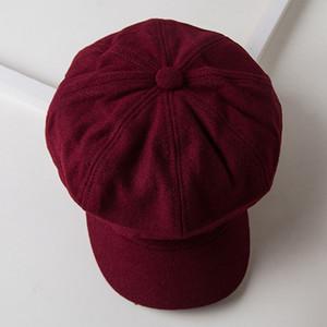 Autumn Spring Beret Hat 2020 NEW Women Solid Color Woolen Octagonal Cap Stylish Artist Painter Newsboy Caps