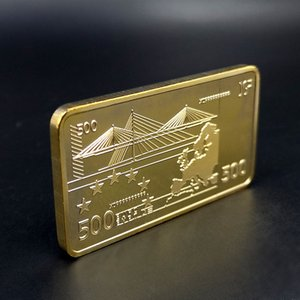 Avrupa Gold Bar 500 Euro Banknot 24k 999.9 Altın Kaplama Metal Hediyelik Hediyeler Olmayan para paralar Barlar