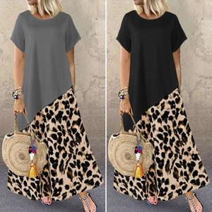 Sundress ZANZEA estate del leopardo di modo stampato maxi donne 2020 casuale manica corta Patchwork Abiti Plus Size Robe 5XL