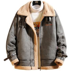 Retro Mens Plus Size cappotti inverno caldo di spessore solido uomini di colore casuale giacche larghe pile Man tuta sportiva