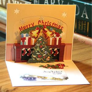 Tebrik Kartları Merry Christmas Tree 3D El yapımı Yukarı Kağıt Sanatı Kartı Lazer Kesim Kağıt Noel