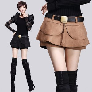 printemps des femmes et la mode automne volanté pantalon velours peau de daim Une jupe courte et pantalon courte ligne skirt- tout-match fas femmes jupe