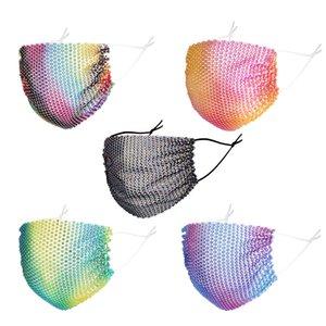 DHL الأزياء أقنعة شبكة الملونة بلينغ الماس حزب قناع حجر الراين شبكة صافي قناع قابل للغسل جنسي الجوف قناع للمرأة