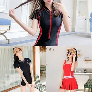 CPa3W sports Swim women's one-piece Conservative J8nD5 slimming student belly-covering flat angle large size sleeve short professional swimsu