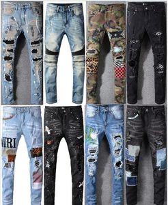 Одежда высокого качества Брюки мужские Panther Версия для печати Army Green Разрушенный Mens Тонкий Denim Straight Biker Узкие джинсы