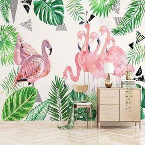 Custom large mural 3D wallpaper Nordic cartoon fashion creative flamingo banana leaf mural TV back wall decor deep 5D embossed