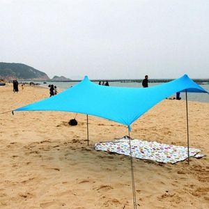 Playa Parasol Familia con la bolsa de arena de hierro polacos plegable portátil de alta estiramiento Yard tienda de campaña al aire libre Pesca Cabaña uMfJ #