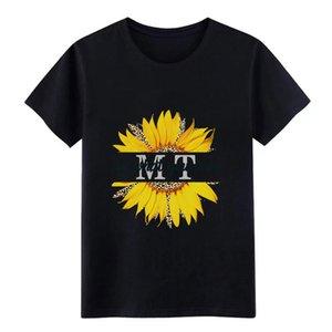mt hacer lo que amas girasol leopardo patrón hombres de la camiseta 100% algodón Diseño de la camisa de cuello redondo Carta a la familia