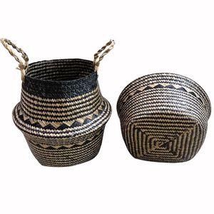 Bambus Storage Baskets Faltbare Wäsche Straw Patchwork Wicker Rattan Seegras Bauch Garten Blumentopf Übertopf handgemachte Körbe AAB1221