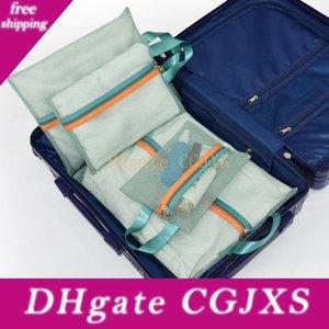4шт / Set Travel Mesh мешок хранения багажа Чемодан белье сетки для хранения Организатор Классификация Ткань Zipper мешок сетки