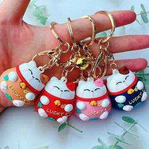 Netter glückliche Katze Keychain Pvc Stereo-Puppe-Karikatur Nette Paare Tasche Anhänger praktisches kleines Geschenk Paracord Keychain Keychain Passwort Von a0bK #