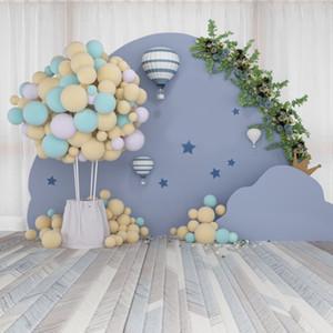 Globo de aire caliente de los globos del partido Laeacco bebé recién nacido de la guirnalda Retrato de madera Fondo suelo Photo fondo la fotografía Photocall