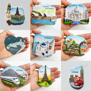 9 padrões Resina 3D Frigorífico Sticker Magnet Lembrança da paisagem imã / San Francisco / Grécia / Sydney / Bali / London CnPn #