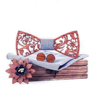 Mens Giysisi Ahşap Papyon Cep Kare Kol Düğmeleri Broş Cravate Noel Hediyesi için Sitonjwly İş Hollow Ahşap Bow Kravatlar Seti