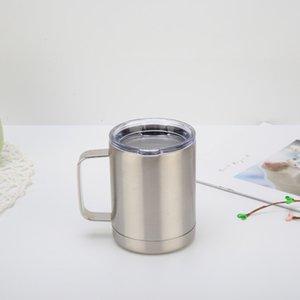 10 Unzen Edelstahl Tumbler Doppelwand-Vakuum-Kaffeetasse mit Deckel Cups Home Office Partyfor kalte und heiße Getränke