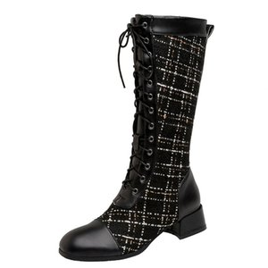 Plush Thick High-Heeled Cross-Lace Knight Boots Checkerboard Woven Tweed Lattice Imported Pattern Stitching PU Knee Boots