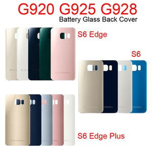 50pcs lot For Samsung Galaxy G920 G925 G928 Back Door Battery Housing With Sticker S6 Edge Plus Battery Glass Back Cover G920F G925F