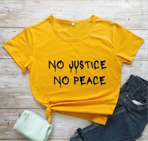 NO PEACE Tshirts Couple Summer Letter Streetwear O-neck Short Sleeve Tees Woman Fashion Clothes Womens NO JUSTICE